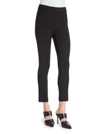 Slim-Fit Cropped Crepe Pants, Black