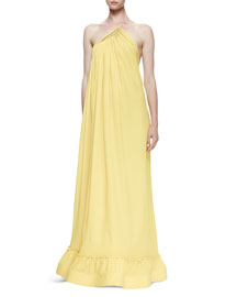 Pleated One-Shoulder Silk Gown, Sun
