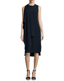 Sleeveless Sheath Dress W/Scarf, Blue/White