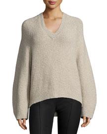 V-Neck Lantern-Sleeve Cashmere-Blend Sweater, Taupe