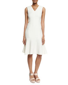 Wool-Crepe Flounce-Hem Dress, Ivory
