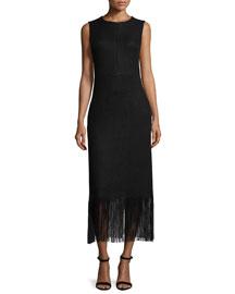 Sleeveless Chevron-Knit Fringed Dress, Black
