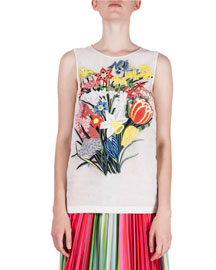 Floral-Embroidered Sleeveless Silk Top, White