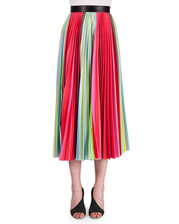 Mary Katrantzou Rainbow Pleated Midi Skirt, Women's, Size: 2, Rainbow Stripe