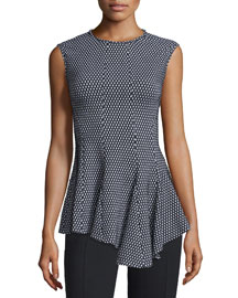 Sleeveless Asymmetric-Hem Mesh Top, Black/White
