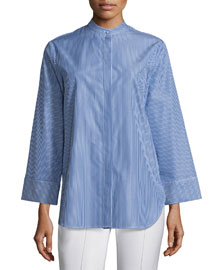 Striped Wide-Sleeve Button-Down Top, Blue/White