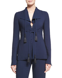 Fitted Blazer W/Tassels, Navy