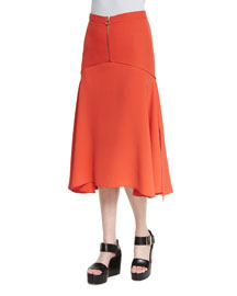 Seamed Zip-Front Cady Skirt, Safety Orange
