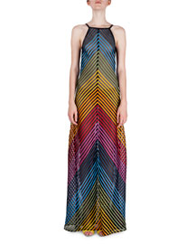 Rainbow-Tape Open-Back Halter Gown