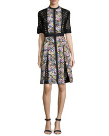 Floral-Eyelet Half-Sleeve Dress, Black/Floral