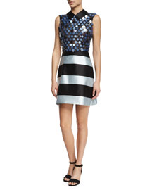 Sleeveless Collared Stripe & Sequin Combo Dress