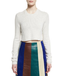 Cashmere-Blend Long-Sleeve Cropped Sweater
