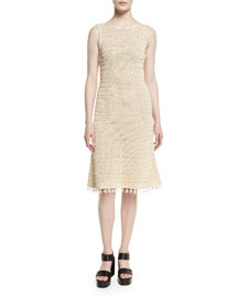 Melange-Knit Sleeveless Dress, Natural
