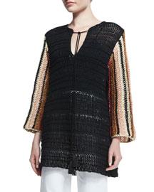 Melange Knit Long-Sleeve Tunic, Black/Multi