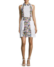 Patchwork Eyelet A-Line Dress, White