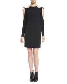 Cutaway-Shoulder Cady Dress, Black