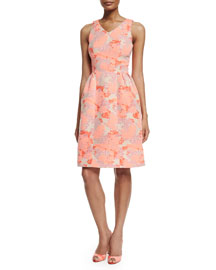 Sleeveless Hydrangea-Print A-Line Dress, Coral/Beige
