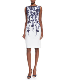 Sleeveless Floral-Print Cloque Sheath Dress, Navy/Ivory