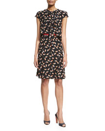 Flutter-Sleeve Tromp L'oeil Silk Dress, Black/Multi