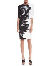 Two-Tone Techno Sheath Dress, Black/White