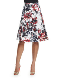 Roses & Dots Cloque Party Skirt, Red/Navy/White