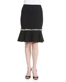 Flounce-Hem Wool Skirt, Black