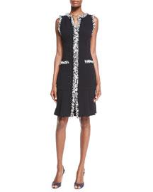 Sleeveless Shift Dress W/Tweed Trim, Black