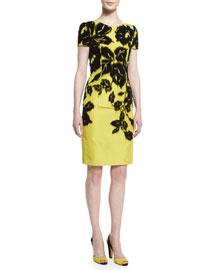 Short-Sleeve Flocked Silk Faille Pencil Dress, Black/Yellow