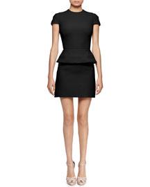 Cap-Sleeve Peplum-Waist Dress, Black