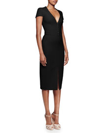 Hook-and-Eye Front Pencil Dress, Black