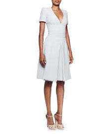V-Neck Stretch-Crepe A-Line Dress, Light Blue