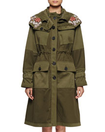 Embellished Patch-Pocket Drawstring Jacket, Olive