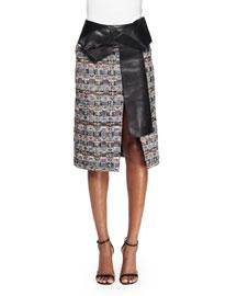 Leather-Trimmed Tweed Skirt, Multi