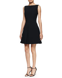 Bateau-Neck Fit-and-Flare Dress, Black