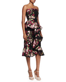 Floral-Print Ruffle-Front Strapless Dress, Burgundy