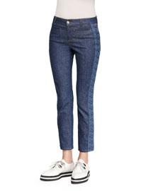 Side-Lace Cropped Jeans, Denim