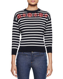 Embroidered Striped Knit Sweater, Navy/White