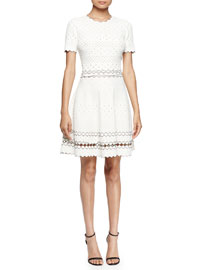 Short-Sleeve Eyelet Fit-and-Flare Dress