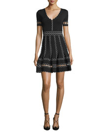 Short-Sleeve V-Neck Dress w/3D Scallop Trim