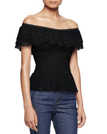 Off-the-Shoulder Ruffle-Knit Top, Black