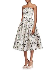 Floral-Print Strapless Tea-Length Dress