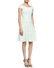 Pindot Knit Off-the-Shoulder Dress, Mint/White