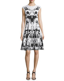 Cap-Sleeve Floral-Print Dress, White/Black