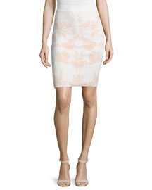 Floral-Print Jacquard Pencil Skirt, White/Nude