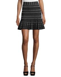 Pindot-Knit Flounce-Hem Skirt