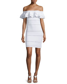 Off-the-Shoulder Ruffle Knit Dress, White