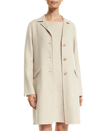 Freddy Cashmere Three-Button Coat, Oats
