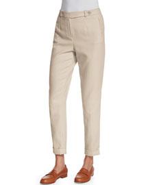 Jari Slim-Leg Cuffed Pants, Oats