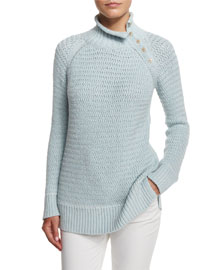 Knit Button-Turtleneck Sweater, Spring Sky
