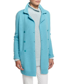 Double-Breasted Long-Sleeve Sweater Jacket, Clear Lake